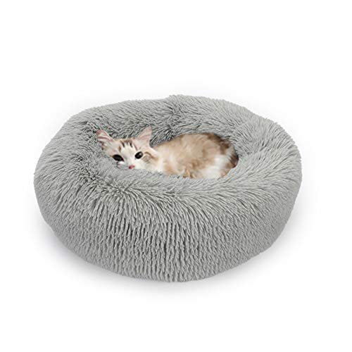 PPQQBB Piel Artificial de Peluche Cama Redonda de Perro de Mascotas Cómodo de Gato y Perro Cojín Suave y Esponjoso y cálido en Invierno (Gris) Gray-S
