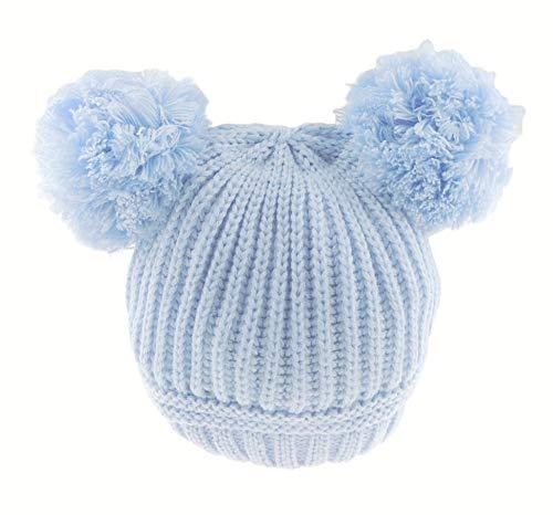 Bonnet à double pompon en tricot côtelé pour bébé fille garçon bleu bleu 12-24 mois