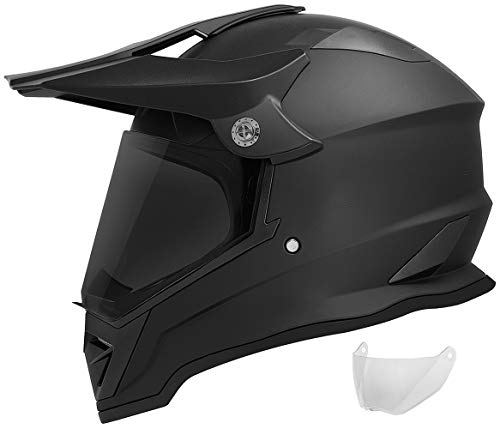 GDM DK-650 Dual Sport Motorcycle Helmet (Matte Black, Tinted & Clear Shields, Large)