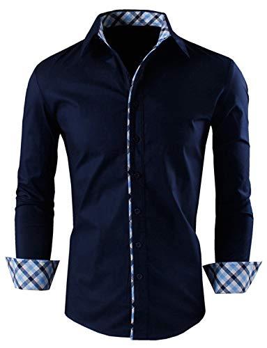 Zombom Men's Cotton Polyester Blend Full Sleeve Regular Fit Casual Shirt Navy Blue