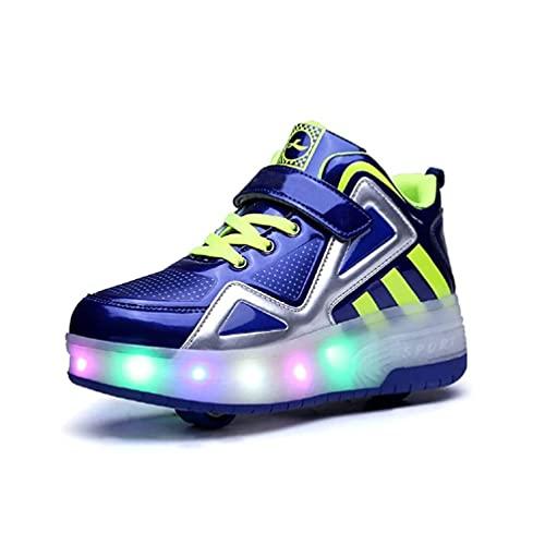 Mrzyzy LED Luces Zapatos con Doble Ruedas Automática Calzado de Skateboarding Deportes de Exterior Patines en Línea Brillante Aire Libre y Deporte Parpadeo Gimnasia Running Zapatillas