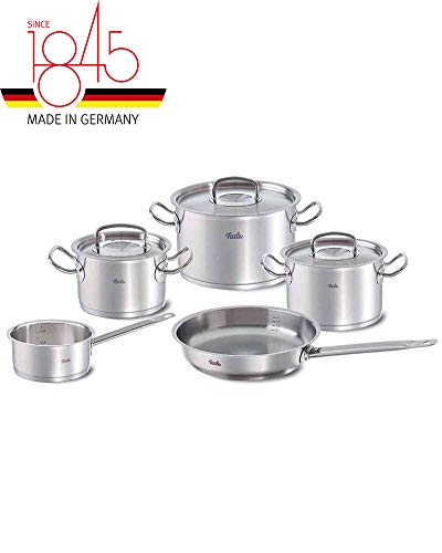 Fissler original profi-collection Stainless Steel Cooking-Pot-Set, Compatible Stovetops: Induction, Gas, Electric, with Metal-Lid, 8-Piece, Silver