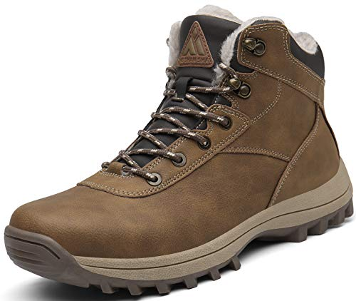 Mishansha Hombre Botas de Nieve Invierno Botines Senderismo Impermeables Deporte Trekking Zapatos Fur Forro Aire Libre Boots,New Amarillo 43 EU