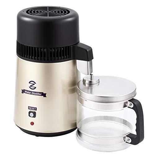 CO-Z Destilador de Agua Purificador de Agua Doméstico 4L Destilador de Agua de Acero Inoxidable 750W con Jarra de Filtro Destilación de Agua con Botella de Colección (Dorado)