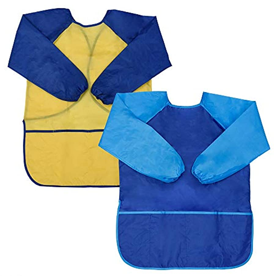 Cosmos Pack of 2 Children Painting Waterproof Apron with Pockets for Kids DIY Crafts Classroom Kitchen Kindergarten (Large)