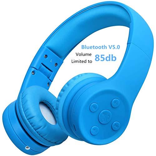 Bluetooth Kopfhörer für Kinder, Hisonic kinderkopfhörer Bluetooth mit Laustärkebegrenzung Gehörschutz & Musik-Sharing-Funktion, eingebautes Mikrofon für Junge und Mädchen ab 2 Jahre. (Blau 01)