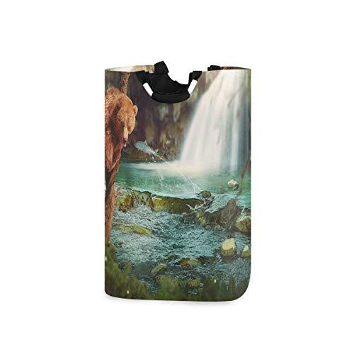 DYCBNESS Cesto para la Colada,Animales Salvajes Los Osos cazan Peces en los ríos Cerca de Las cascadas Naturaleza Bosque,Cesta de lavandería Plegable Grande,Papelera de Lavado Plegable