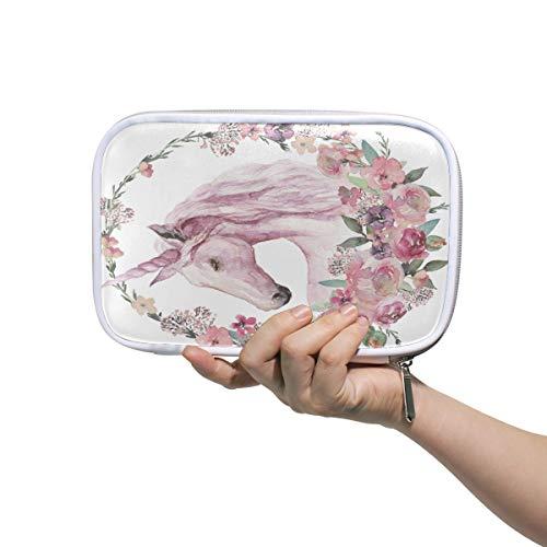 Mr.XZY Bolsa de lápices de unicornio de acuarela para niño para niña, bonito patrón de viaje, pequeña bolsa de cosméticos para pasaporte con cremallera para mujer 2011924