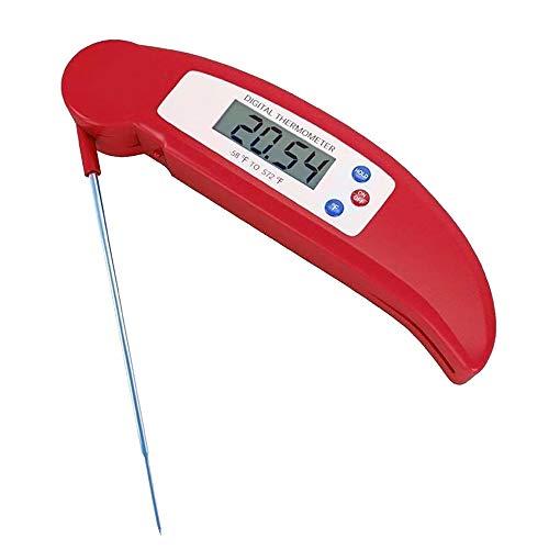 Skitior - Termómetro Digital de Cocina para Alimentos, termómetro de Carne, Pantalla LCD retroiluminada de Encendido/Apagado automático, sonda Larga para café, Barbacoa, Parrilla, Agua, Color Rojo