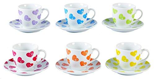 Borella Casalighi cuorecolor Set à café avec Assiette, Porcelaine, Couleurs Assorties, 32 x 12 x 6.5 cm