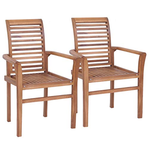 mewmewcat 2 pcs Dining Chairs Outdoor Stacking Garden Chair Set with Back and Armrests 62 x 56.5 x 94 cm Solid Teak