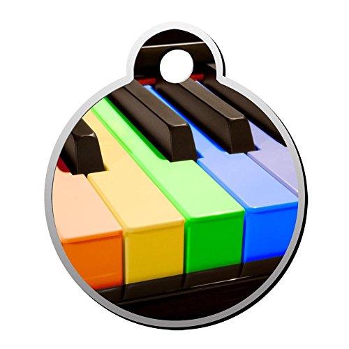 SeCag Haustier-Anhänger in Regenbogenfarben, Klavier-Form, Zinklegierung, rund, dekoriert Duplex-Druck, personalisierbar für Welpen, Kätzchen
