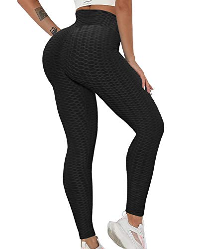 ZITAIMEI Butt Lifting Anti Cellulite Workout Leggings for Women High Waist Yoga Pants Running Sexy Tights Black