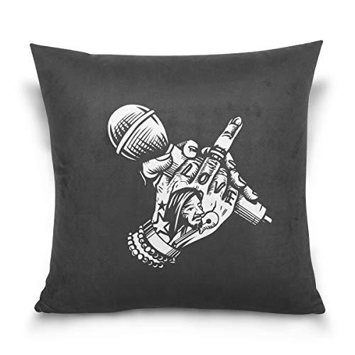 Houding Microfoon Midden Vinger Decoratieve Vierkant Kussen Hoesje Kussen Cover voor Sofa Slaapkamer Auto Tweezijdig Ontwerp 16 x 16 inch