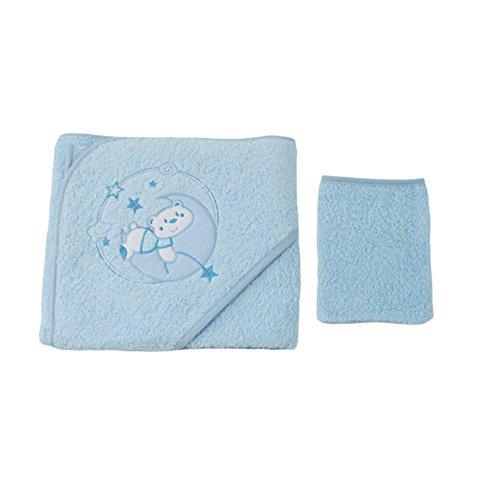 Parure de bain pour bébé bleu - Motif Ourson Lune
