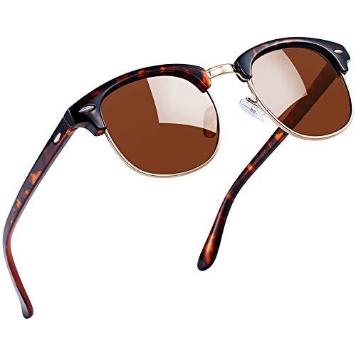 Joopin Gafas de sol Polarizadas Clásico Medio Marco para Hombre, Retro Semi Rimless Gafas de sol para Mujer (Leopardo)