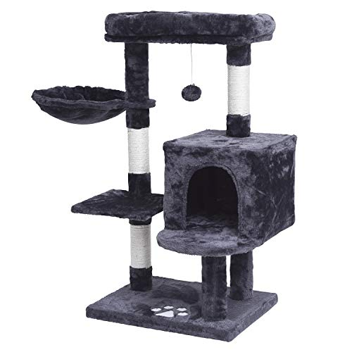 MQFORU Multi-Level Cat Tree Condo, Activity Centre Cat Tower Furniture with Sisal-Covered Scratching Posts, Padded Plush Perch, Spacious Cat Cave & Basket, for Kittens, Adult Cats, Grey