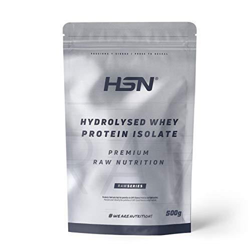 Proteína Hidrolizada Sin Lactosa de HSN | Hydrolysed Whey Protein Isolate | Proteína de Suero Hidrolizado Aislada | Batido para Ganar Masa Muscular, | Vegetariano, Sin Gluten, Sin Sabor, 500 gr