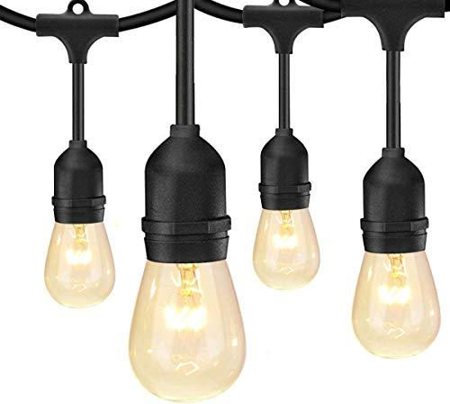 BRTLX ストリングライト 防雨型 15m 15個ソケット 18個フィラメント電球付き イルミネーションライト クリスマス ハロウィン 飾り 連結可能 誕生日パーティー電飾