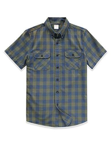Dubinik® - Camisa de franela a cuadros para hombre, manga larga, corte normal, para tiempo libre verde cuadros XL