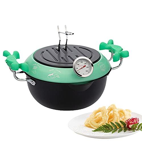 Olla para freidora, tempura japonesa, pequeña freidora profunda de acero inoxidable con termómetro, tapa y escurridor de goteo de aceite para papas fritas, camarones, alitas de pollo y camarones