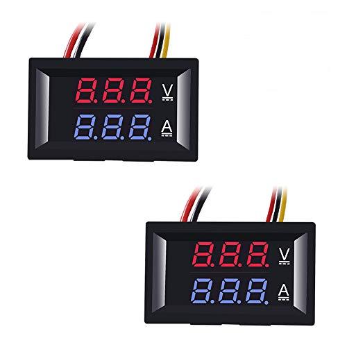 ACEIRMC DCデジタル パネルメーター 電圧計 電流計 DC0-100V 10A 赤青 3桁表示 パネル取付け型 2個入り