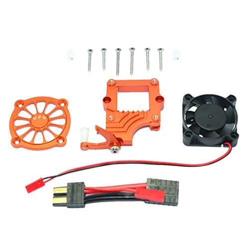 Hongxin RC CAR Spare,GPM Aluminum Alloy Motor Cooling Fan Easy Switch Set for Traxxas TRX-4 Racer (Orange)