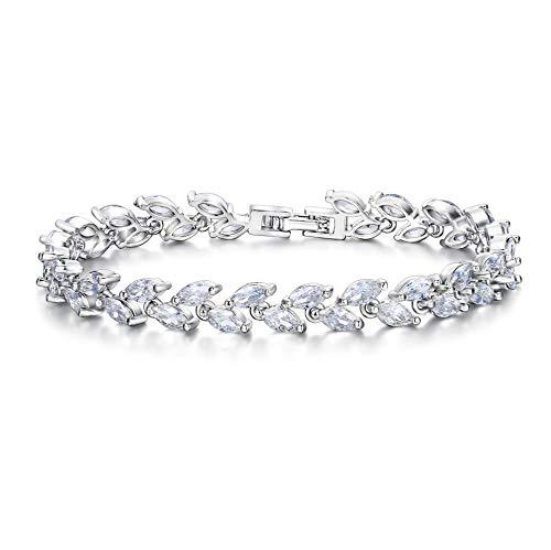 EVER FAITH Silver-Tone Zircon Wedding 2 Layers Small Leaf Roman Tennis Bracelet Clear