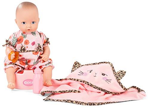 Götz 2053040 Aquini Mädchen Catness Puppe - 33 cm Badepuppe mit Zubehör, blauen gemalten Augen, ohne Haare - 6-teiliges Set - Babypuppe ab 18 Monaten