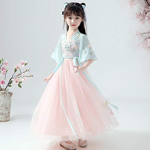 GEMORE niños sobre Las niñas Ropa China niñas Hitz Traje de Hadas Vestido de Traje Chino de la Falda de la Chaqueta de Pecho Viento (Color : Sky-Blue, 身高 Height : 140cm)