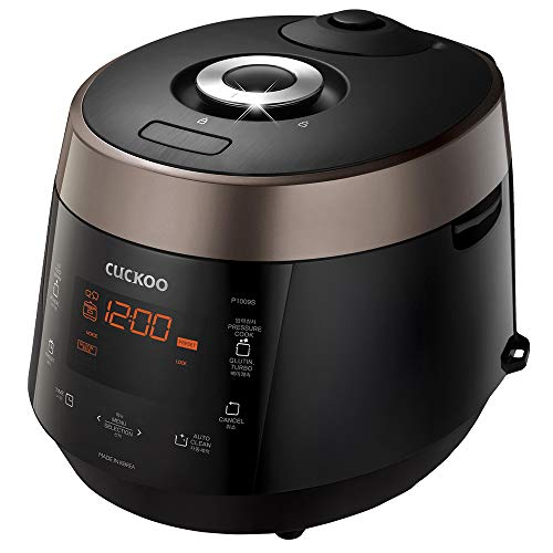 Cuckoo CRP-P1009SB 10 Cup Heating Plate Electric Pressure Rice Cooker, 12 Menu Options, Made in Korea, Stainless Steel Inner Pot, Black