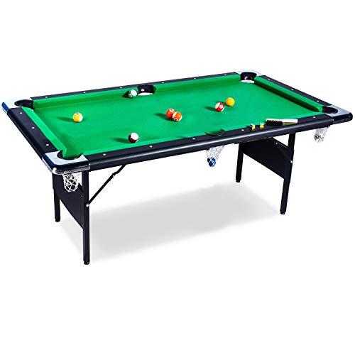 Buckshot Billardtisch 6ft - 193x109x81cm Atlanta- Tischbillard klappbar mit Zubehör - 6 Fuß Pool Billard mit Metallklappbeinen - Grün/Schwarz