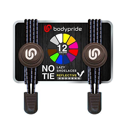 bodypride Premium Lazy Laces [ 12 Farben ] Elastische Schnellverschluss - Schnürsenkel ohne Binden | Schnellschnürsystem mit Reflektoren für Sport, Marathon, Triathlon, Kinder, Senioren | Braun
