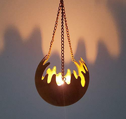 LB H&F Rostkugel Feuerkugel zum aufhängen Flamme Windlicht Hängetopf Schale Gartenkugel Rost mit Kette (Rost 1)