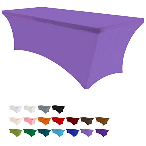 Eurmax 6Ft Rectangular Fitted Spandex Tablecloths Wedding Party Patio Table Covers Event Stretchable Tablecloth (Plum)