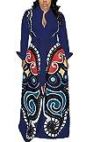 LKOUS Women's Sexy Deep V Neck Long Sleeve Loose A Line Blouse Swing Shirt Dress Cocktail Plus Size Blue XL