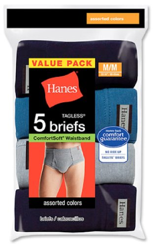 Hanes Men's Tagless No Ride Up Briefs with ComfortSoft Waistband, 5-Pack