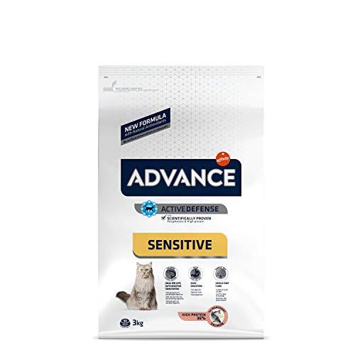 ADVANCE Sensitive - Croquettes pour Chat Adulte avec des Sensibilités Digestives et Cutanées - Saumon et Riz - 3Kg