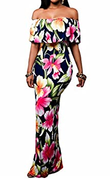 Happy Sailed Women Prom Floral Off Shoulder Bodycon Maxi Dress for Evening Medium Navy Blue