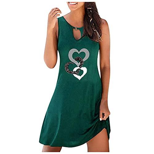 FQZWONG Women's Boho Summer Dress V-neck Print Hollow Out Sleeveless Loose Skirt Dress (D-Green,Small)