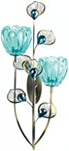 Zings & Thingz 57073538 Peacock Flowers Wall Sconce, Blue