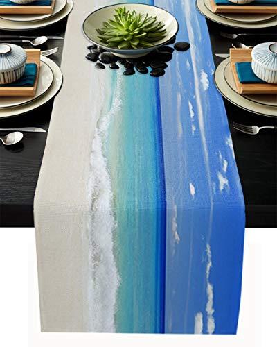 FAMILYDECOR Camino de mesa de arpillera de lino para mesas de comedor de 33 x 274 cm, caminos de mesa de arena blanca tropical y cielo azul para fiestas de vacaciones, cocina, decoración de boda