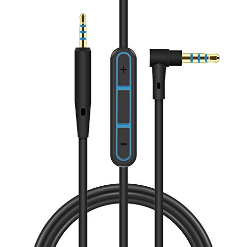 QC15 Replacement Cable for Bose QuietComfort 15 SoundTrue Headphones Audio Cord Cable AUX 3.5mm with Inline Mic Volume Control for Bose Quiet Comfort QC2 QC15 QC 15 Headphone Inline Mic