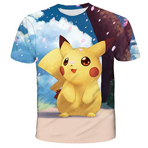 PERRTWDLF Rundhals Tee Hemd mit kurzen Ärmeln Pokemon T-Shirt Unisex 3D Druck Pikachu Kurzarm Herren Damen Sommer japanischer Anime lustig Hemd Teenager Sportswear 1101_130cm