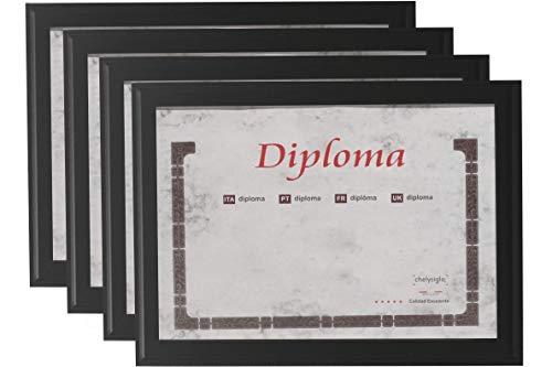 Chely Intermarket, Marcos Certificado y Diplomas 18x24 cm (4-unds),Hecho Madera sólida, Apto para Colocar Títulos universitarios, licencias, Fotos y certificados