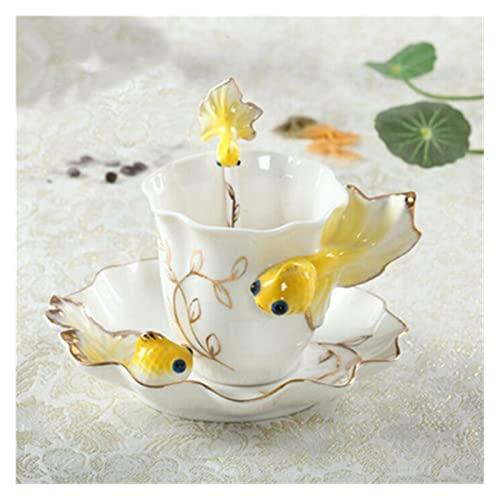 QSCTYG Tazas Cafe Goldfish Esmalte café Taza de Porcelana Traje Traje Creativo Boda Presente cerámica Taza Hueso China Taza 73 (Capacity : 200ml, Color : B)