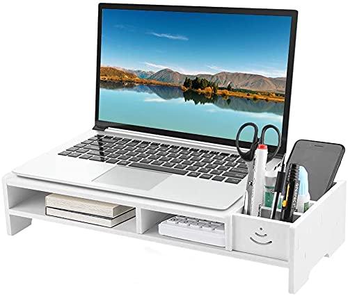 Monitorstandaard schermhoogte 2 niveaus beeldschermstandaard monitor riser verhoging met plank bureau opzetstuk voor kantoor woonkamer, 38 x 20 x 10 cm, wit