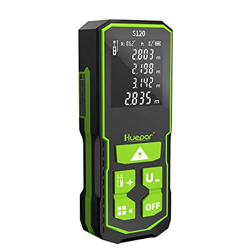 Huepar Laser Distance Measure 120M with Rechargeable Battery & Dual Angle Display, Laser Measure M/in/Ft with Mute Function & Multi-Measurement Modes, Pythagorean, Distance S120