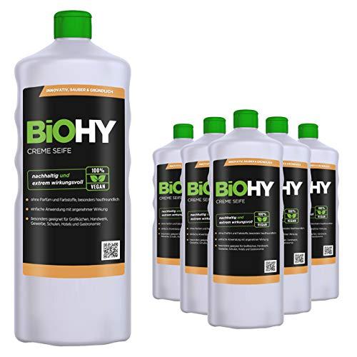 BiOHY Savon crème liquide (6 x 1l Bouteille) | Recharge de Savon à Mains Doux, hydratant et inodore du Secteur végétal sans Phosphate | sans Parfum ni Colorant (Creme-Seife)