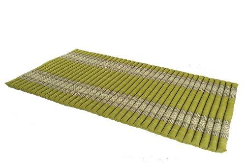 Handelsturm Rollbare Thaimatte Matratze, ca. 200 x 100 cm, Thaikissen Matte, bambusgrün, mit Füllung aus Kapok